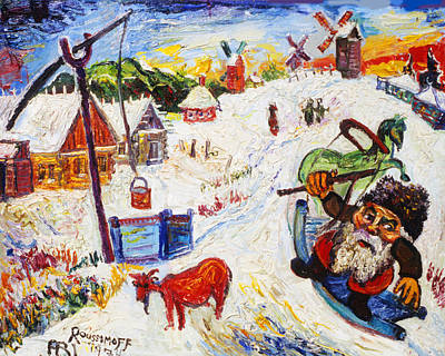 Roussimoff Wall Art - Painting - Sleigh Ride To The Well by Ari Roussimoff