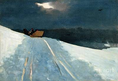Horse-drawn Painting - Sleigh Ride by Winslow Homer
