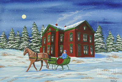 New York Painter Painting - Sleigh Ride With A Full Moon by Charlotte Blanchard