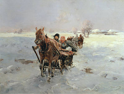 Eastern Europe Painting - Sleighs In A Winter Landscape by Janina Konarsky