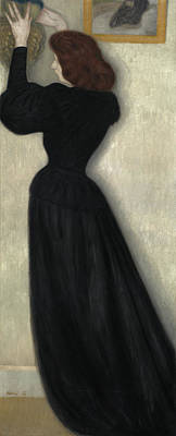 Woman With Black Hair Painting - Slender Woman With Vase by Jozsef Rippl Ronai