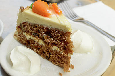 Art Print featuring the photograph Slice Of Carrot Cake With Cream A by Jacek Wojnarowski