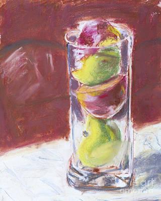 Sliced Apples Pastel Art Print by Edward Fielding