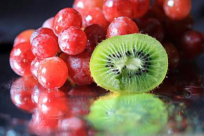 Photograph - Sliced Kiwi And Grapes by Angela Murdock