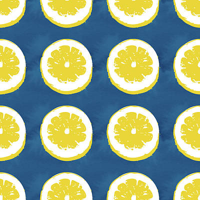 Mixed Media - Sliced Lemons On Blue- Art By Linda Woods by Linda Woods