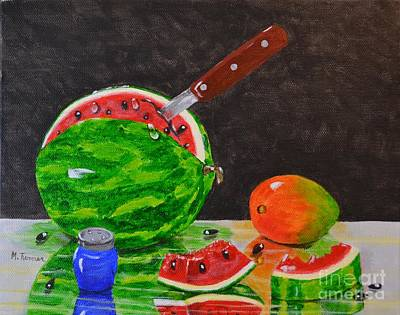 Painting - Sliced Melon by Melvin Turner