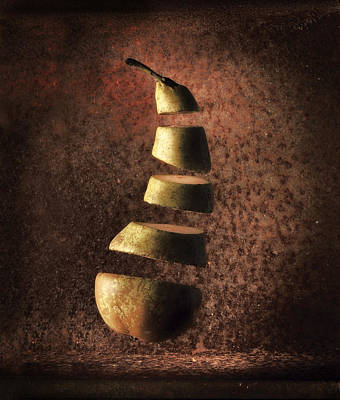 Fruits Photograph - Sliced Up Pear by Dirk Ercken