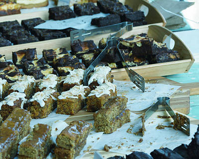 Photograph - Slices Of Cake Displayed On A Market Stall Table A by Jacek Wojnarowski