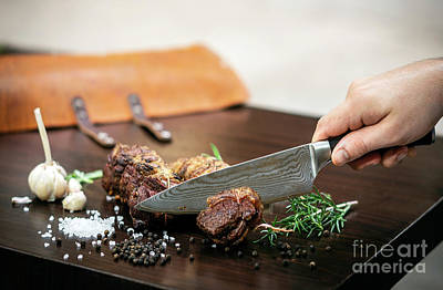 Photograph - Slicing Organic Roast Beef Roll On Wood Table With Ingredients by Jacek Malipan