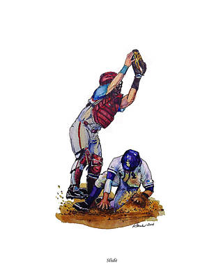 Baseball Painting - Slide by Judy Hanks