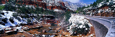 Snow-covered Landscape Photograph - Slide Rock Creek, Sedona, Arizona by Panoramic Images