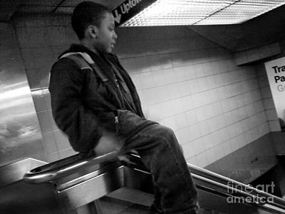 Photograph - Sliding On The Rail - Subways Of New York by Miriam Danar