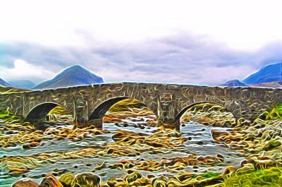 Digital Art - Sligachan Old Bridge-dm by Bruce