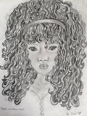 Hispanic Drawing - Slightly Wind Blown Kisses by Chenee Reyes
