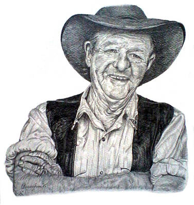 Icon Drawing - Slim Dusty by Yvette Cunningham