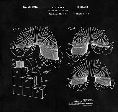 Drawing - Slinky Patent Design  by Dan Sproul