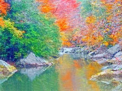 Art Print featuring the digital art Slippery Rock Creek In Autumn by Digital Photographic Arts