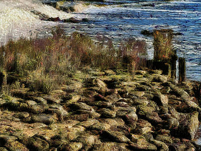 Digital Art - Slippery Rocks And Turbulent Waters by Leigh Kemp