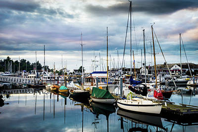 Boats In Reflecting Water Photograph - Slips At Point Hudson Marina by TL Mair