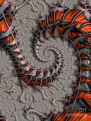 Digital Art - Slithering Creatures Fractal by Dee Flouton