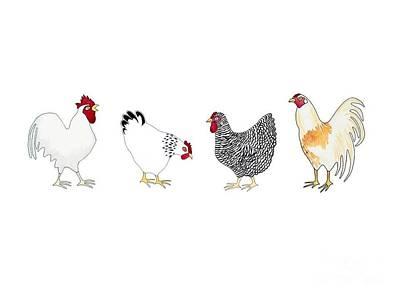 Rosedahl Painting - Sloggers Chickens by Sarah Rosedahl