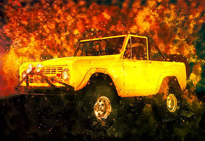 Digital Art - Slogging The 1969 Ford Bronco Through The Bush by Chas Sinklier
