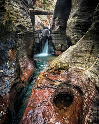 Slot Canyon Waterfall At Zion National Park Art Print