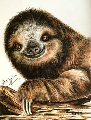 Drawing - Sloth by Art By Three Sarah Rebekah Rachel White