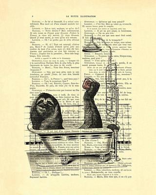 Adorable Digital Art - Sloth, Funny Children's Art, Bathroom Decor by Madame Memento