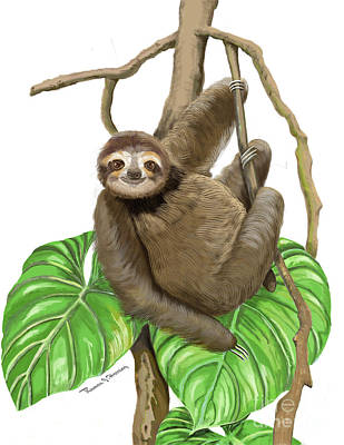 Art Print featuring the mixed media Hanging Three Toe Sloth  by Thomas J Herring