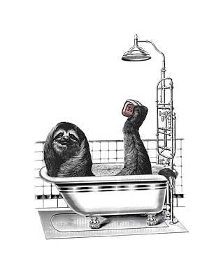 Shower Digital Art - Sloth In Bathtub Taking A Shower by Madame Memento
