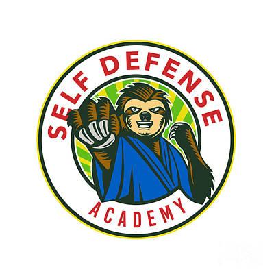 Mellow Yellow - Sloth Karate Self Defense Badge by Aloysius Patrimonio