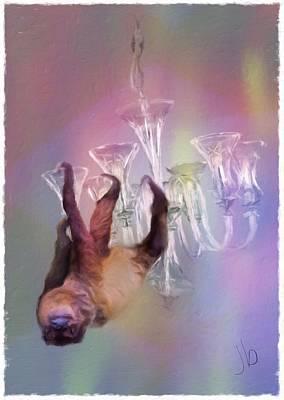 Sloth On A Chandelier  Art Print by Jennifer Buerkle