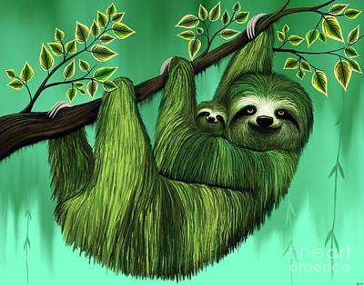 Digital Art - Sloths In A Tree by Nick Gustafson