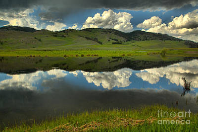 Photograph - Slough Creek Lush Green And Stormy Skies by Adam Jewell