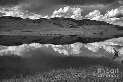Photograph - Slough Creek Lush Green And Stormy Skies Black And White by Adam Jewell