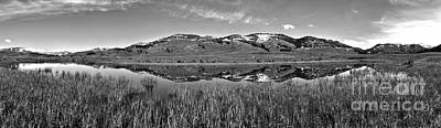 Photograph - Slough Creek Reflection Panorama Black And White by Adam Jewell