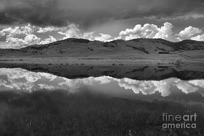 Photograph - Slough Creek Reflections Between The Storm Clouds Black And White by Adam Jewell