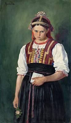 Painting - Slovak Girl In Costume, Jozef Hanula, Ca 1910 by Vintage Printery
