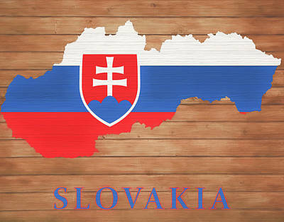 Mixed Media - Slovakia Rustic Map On Wood by Dan Sproul