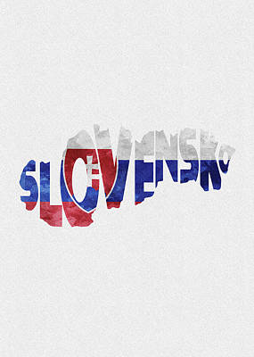 Digital Art - Slovakia Typographic Map Flag by Inspirowl Design