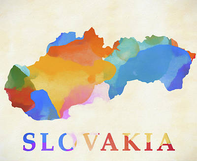 Painting - Slovakia Watercolor Map by Dan Sproul