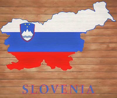 Mixed Media - Slovenia Rustic Map On Wood by Dan Sproul