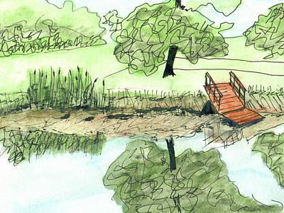 Mixed Media - Sluggo's Pond Dock by R Kyllo