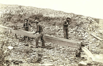 Sluice Box Placer Gold Mining C. 1889 Art Print