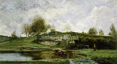 Cattle Dog Painting - Sluice In The Optevoz Valley by Charles-Francois Daubigny