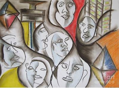 Pastel - Slum City Dwellers by Isaac Khonjelwayo