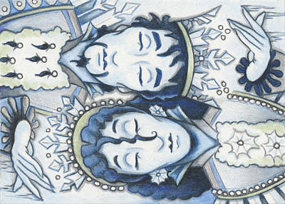 Atc Drawing - Slumber Of The Snows by Amy S Turner