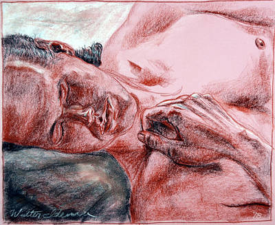 slumber, sleeping, nap, young, man, shirtless, carnation, Canson, Mi-Teintes, Drawing, Paper, Conte, Original