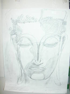 Drawing - Slumbering Buddha by Sharyn Winters